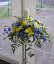 blue and yellow candle arrangement